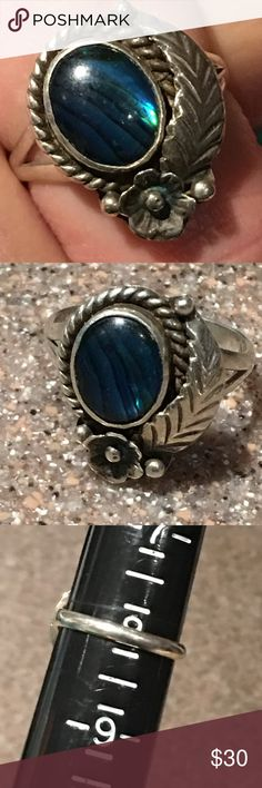 Native American Pau Sterling Ring Native American Sterling Pau ring, has leaf design and squash blossom flower. This is a vintage older ring. Very nice made. See all pictures for size. Jewelry Rings
