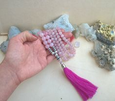 108 Rose Quartz Mala Bead Necklace  ♥ Beads are 10mm and 8mm ♥ Cotton tassel   #mala #108mala #malanecklace #malabeads #chakra