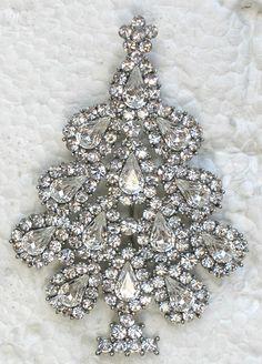 Rhinestone Crystal Christmas Tree Brooch