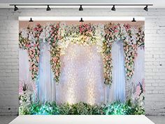 Wedding Backdrops, Wedding Decorations, Prom Photography, Wedding Background, Photo Booth Backdrop, White Curtains, Background For Photography, Floral Wall, Wedding Ceremony