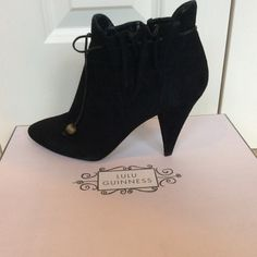 Spotted while shopping on Poshmark: Lulu Guiness Black Suede Bootie Size 8! #poshmark #fashion #shopping #style #Lulu Guiness #Shoes