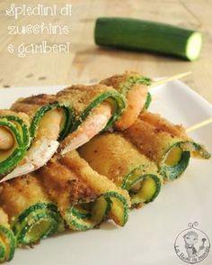 Spiedini di zucchine e gamberi