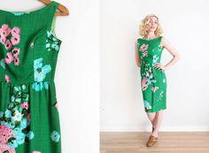 vintage 1960s dress // 60s linen floral dress by TrunkofDresses