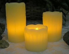 "Flameless Flickering LED Candles - Set of 3 assorted sizes - 2"", 3"", 4"" candles - Each candle has a 5 hour timer -5 hrs on, 19 hrs off - Wedding decorations - Parties - Yoga - Centerpieces"