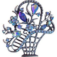 Gorgeous Blue Aurora Rhinestone Flower Basket Vintage Brooch