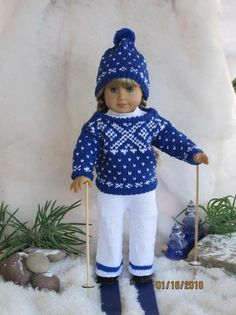 "Snowflakes 18"" AG doll knitting pattern via Craftsy"
