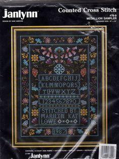 Janlynn Counted Cross Stitch Kit MEDALLION SAMPLER #78-9 by Sam Hawkins 1987 #Janlynn