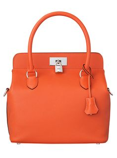Hermes - Toolbox handbag in orange leather.