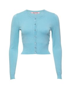 Maggie Long Sleeve Cardi | Duck Egg | Cardigan College Fashion, College Style, Blue Cardigan, Knit Cardigan, Spring Wear, Review Fashion, Review Dresses, Long Sleeve Crop Top, Winter 2017