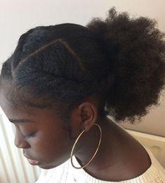 Flat twists into low puff | black girl Cute Hairstyles, Hair Ideas, Hoop Earrings, Braids, Cut Hairstyles, Earrings, Cute Hair