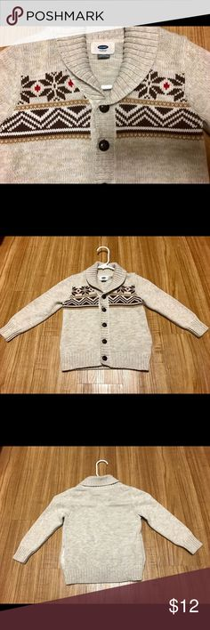 Boys Old Navy button up sweater Tan sweater with brown and red design across chest. Brown buttons. Side pockets. Toddler boys size 5 Old Navy Shirts & Tops Sweaters