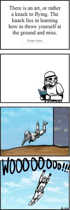 Storm Troopers take flight.