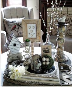 Beautiful cottage farmhouse style neutral spring and Easter decor. Pussy willow branches for spring Shabby chic Neutral Easter Decorating Ideas