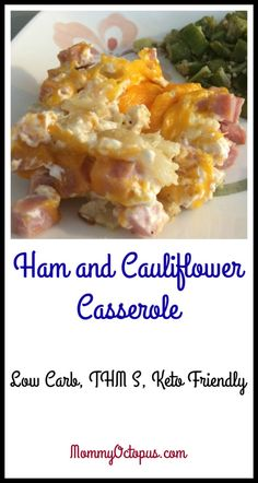 Ham and Cauliflower Casserole - Low Carb, THM S, Keto Friendly Low Carb Recipes, Diet Recipes, Cooking Recipes, Healthy Recipes, Smoothie Recipes, Primal Recipes, Smoothie Ingredients, Cream Recipes, Easy Cooking