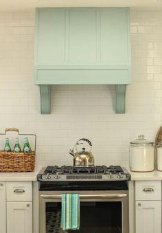 Gorgeous Coastal style white shaker kitchen with aqua blue at thehappyhousie.com-34
