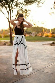 Black sleeveless blouse with stylish black stripes white maxi dress the perfect summer fashion