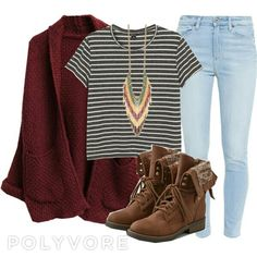 Casual outfits, fall outfit, brown combat boots, chunky necklace, bleached jeans, black white stripe shirt, red sweater cardigan, autumn fashion, fall fashion, autumn outfit. Polyvore : bethboonstra