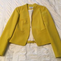 Loft yellow blazer NWOT sitting on my closet forever unworn because I got pregnant the month I bought it and have never been able to fit in it. Super cute details. True to size. LOFT Jackets & Coats Blazers