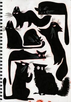 If I could draw black cats like this... it would mean a whole lot of good luck for me! :P #CatIllustration