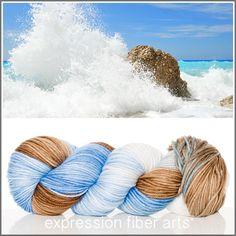 Expression Fiber Arts, Inc. - HIGH TIDE SUPERWASH DEWY DK yarn - a mix of clear ocean blue, sand brown and sea crest cream, $23.00 (http://www.expressionfiberarts.com/products/high-tide-superwash-dewy-dk.html)