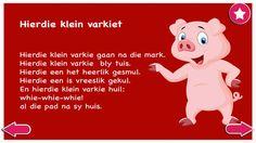 Hierdie klein varkie - Kinderrympies in Afrikaans Tracing Worksheets, Preschool Worksheets, Beautiful Poetry, Rhymes For Kids, Afrikaans, Child Development, School Projects, Success Quotes, Mobile App
