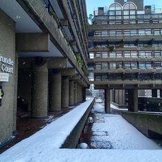 🎵Walking in a Winter Wonderland! Bold Colors, Colours, Barbican, Brutalist, Modern Architecture, Winter Wonderland, Walking, Snow, Memories