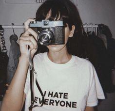 I Hate Everyone Tee - Cosmique Studio Gray Aesthetic, Bad Girl Aesthetic, Aesthetic Collage, Aesthetic Vintage, Film Aesthetic, Aesthetic Bedroom, Aesthetic Grunge Black, Aesthetic Shirts, Aesthetic People