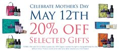 Celebrate Mother's Day May 12th 20% off Selected Gifts