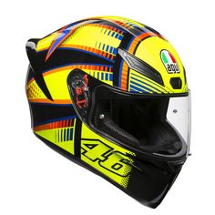 """The AGV range has landed at SMC! From only this is the first affordable """"GP"""" style helmet on the market. With legendary AGV quality it's a definite winner in our eyes! Agv Helmets, Motorcycle Helmets, Helmet Paint, Sports Helmet, Full Face Helmets, Vr46, Cycling Helmet, K 1, Valentino Rossi"""