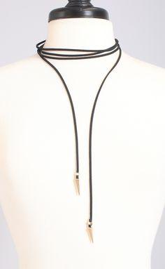 western ways suede wrap necklace - black
