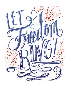 Fourth Of July Printable Sign Let Freedom Ring by LilyandVal
