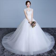 2017 new wedding dress was thin bride married Korean trailing retro Qi pregnant women large size simple v collar