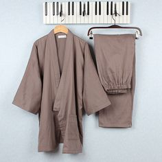 Men Jinbei Japanese Kimono Long Sleeve Cotton Sleepwear Pajama Sets Loungewear #Unbranded #PajamaSets