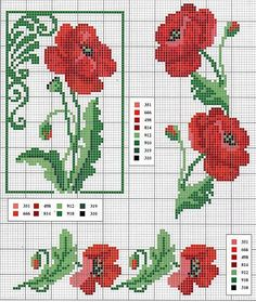 Poppies and borders cross stitch pattern with key Cross Stitch Rose, Cross Stitch Borders, Cross Stitch Flowers, Cross Stitch Charts, Cross Stitch Designs, Cross Stitching, Cross Stitch Embroidery, Embroidery Patterns, Cross Stitch Patterns
