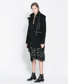 COAT WITH ZIPS AND HOOD - Coats - Woman | ZARA United States