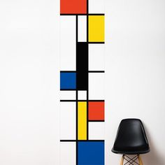 """Pop Mondrian Wall Mural Wall Mural - Transform any room with this modern wall mural. - 100% vinyl wall decal - Installed dimension, as shown: 25"""" x 102"""" - Artist: Lucie Gauthier - By ADzif"""