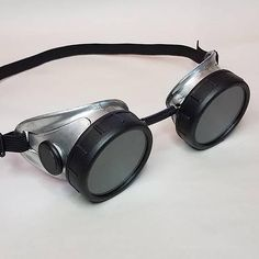 Silver and Black Sci Fi Space Captain's Battle Goggles  #scifi #steampunk #space #masseffect #masseffectandromeda #halo #fallout #science