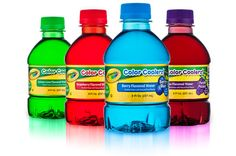 Crayola Color Coolerz... flavored water: Berry Blue (berry), Purple Pizzazz (grape), Screamin' Green (lemon-lime), Wild Strawberry (the red one)