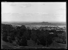 Looking south from One Tree Hill domain over Manukau Harbour towards Mangere showing Mangere Bridge, Onehunga Wharf and Mangere Mountain (right of centre background). Auckland New Zealand, One Tree Hill, Me On A Map, Libraries, Maps, Centre, The Neighbourhood, Bridge, Bro