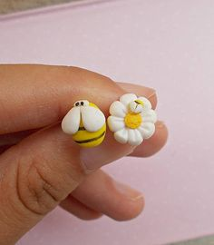 This is a cute pair of earrings created from polymer clay without molds or forms. A matching pair with a bee and a daisy. The lenght of each earring is 1.2 cm. ❀ Price is for one pair of earrings. ❀ I ship the orders very quickly, in 1 to 3 days after I receive your order. I ship them with