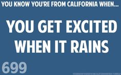 You know you're from California when you get excited when it rains