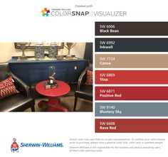 I found these colors with ColorSnap® Visualizer for iPhone by Sherwin-Williams: Black Bean (SW 6006), Inkwell (SW 6992), Canoe (SW 7724), Stop (SW 6869), Positive Red (SW 6871), Blustery Sky (SW 9140), Rave Red (SW 6608).