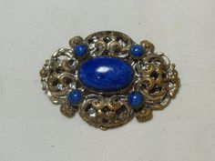 Brass Art Deco brooch, Blue Lucite stone, fancy filigree design, vintage scarf pin, high fashion Victorian teachers gift, hipster retro sc by GingersLittleGems on Etsy