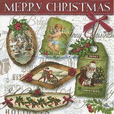 Servilletas para decoupage Christmas labels 33 X 33 cm.