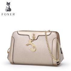 FOXER Brand Women Shoulder Bags & Chains long strap Crossbody cowhide handbags small clutch bags &  Hobos