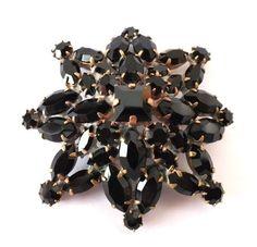 Czech Rhinestone Pin, Black | Schwarze Strassbrosche aus Gablonz/Böhmen, Exklusivmodell