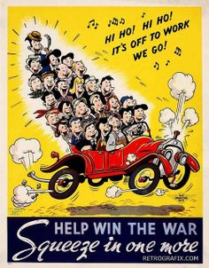 U.S. Government propaganda poster encouraging American to share rides and carpool in support of the war effort (WWII) due to the fact that gasoline and petroleum based materials (e.g. rubber) were in short supply during the war years.