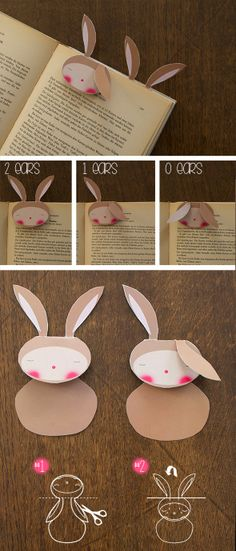 El hada de papel: Free printable rabbit, bunny, Bookmark Fun Crafts To Do, Easy Crafts, Diy And Crafts, Crafts For Kids, Paper Crafts, Origami, Felt Bookmark, Diy Bookmarks, Stationery Craft