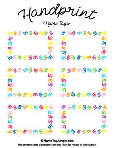 Name Tag Template Free Printable Free Printable Handprint Name Tags.  Name Labels Templates Free