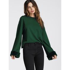 Pullovers Long Sleeve Round Neck Green Plain Polyester Fabric is very stretchy Spring Fall Casual Sweatshirts, Style: Casual Type: Pullovers Sleeve Length: Lon…